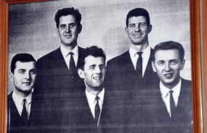 Kjell Dahlgrens orkester när det begav sig: Evert Åström, Gösta Nilsson, Kjell Dahlgren, Berndt Natanaelsson och Bertil Westlund.
