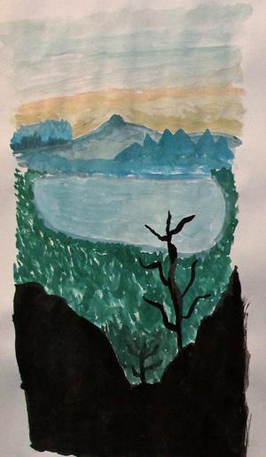 Landskapsmålning i akvarell.