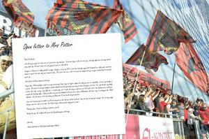 Supporterklubben Falkarnas brev till Rachel Potter.