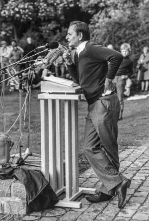 Socialdemokraternas partiledare Olof Palme vid talarstolen 1978.
