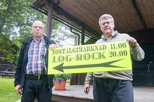 Kalle Grängzell, kassör, och Lars-Olof Mattsson, ordförande, i Svegs Hembygdsförening som står för själva infrastrukturen runt Gammelgården och Logrocken. I år med hantverk- och nostalgimarknad.