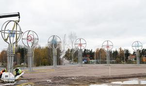 De väldiga träden i stål, med färger i kronorna, restes för fullt i går. Sammanlagt blir det åtta träd som möter bilisterna i rondellen.