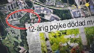 Saxmordet i Hovsjö. Karta där den 12-åriga pojken hittades samt faksimil från LT 31 maj 2001. Fotograf: Lina Bergling