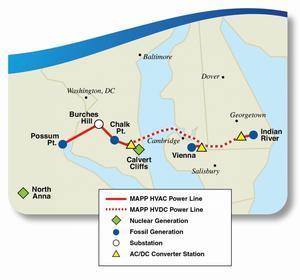 Här hoppas ABB på genombrottet för HVDC med markkablar och en ny fabrik i USA blir viktigt argument. Illistration: MAPP