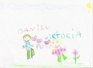Brudparet som är mycket kära, tecknat av Isabelle Silversten, 6 år.