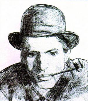 Pelle Molin, teckning av Charles Friberg. Detalj.