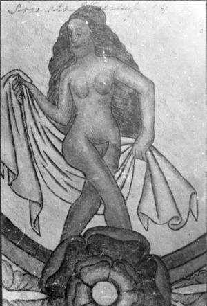 Denna nakna dam kan finnas kvar under putsen i taket på Söderala kyrka.