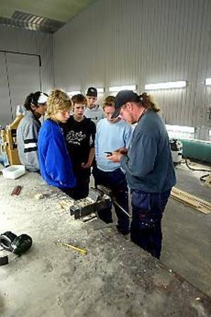 Foto: ANNAKARIN BJÖRNSTRÖM Vässa knivarna. Rikard Zetterquist är båtbyggare och lärare på skeppsakademin i Gävle. Han trivs med sitt nya arbete. - Eleverna tycker att det här är kul. De är motiverade och drivna, säger han.\nHär ger han eleverna Marcus Huld, Fred Flygare, Emil Jensen och Christoffer Bleck en lektion i knivslipning.