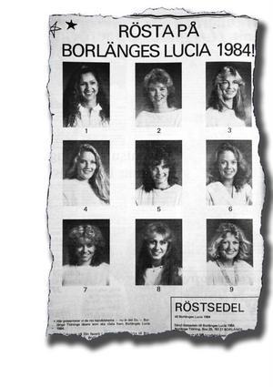 1984 återupptogs Borlängelucian och de här var det årets kandidater att rösta på. Vann gjorde kandidat åtta, då 17-åriga Britta Karin Spåls från Medväga.