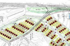 TN arkitekter AB i Sundsvall har skissat ett förslag på hur marken skulle kunna tänkas användas, här syns 85 radhus och 10 souterrängvillor.