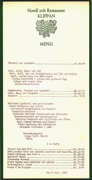 Klippans meny 1968.