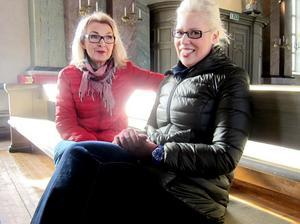 Karin Nordlund, första sopran i Hedesunda Sångare, och Matilda Orrling (f d Eliott), sopransolist i Förklädd Gud i Hedesunda kyrka på söndag.