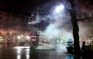 Bocken på Järntorget brann ner tidigt på torsdagsmorgonen.