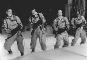 Harold Ramis, Dan Aykroyd, Bill Murray and Ernie Hudson som spökjägarna i den första