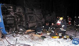 Bussolyckan på Ängelsbergsvägen som krävde sex liv. Foto: Torgny Narfström/arkiv