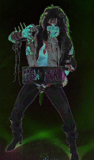 Bildtext 4: Blackie Lawless från WASP orsakade en indignationsvåg i Sverige på 1980-talet. Här med en rejäl löfbiff i käften. Foto: Göran Lindsjöö ? Premium Rockshot