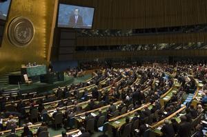 FN:s egen dag. I dag är det FN-dagen, bilden är från generalförsamlingen i New Yorkfoto: scanpix