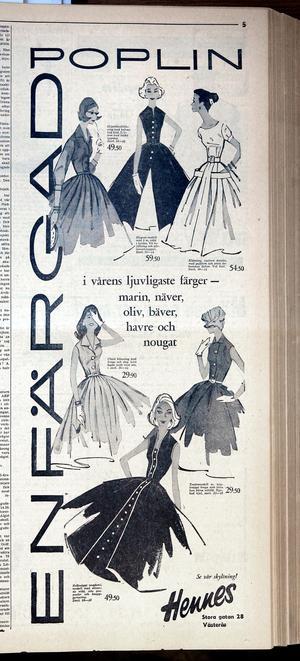 Vårmode 1957, i moderiktiga färger. Det här är en annons ur vlt.