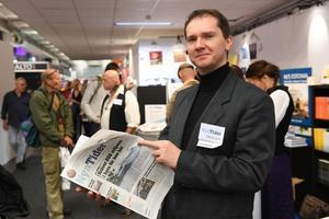 Vávra Suk, chefredaktör på högerextrema tidningen Nya Tider, under bokmässan i Göteborg.