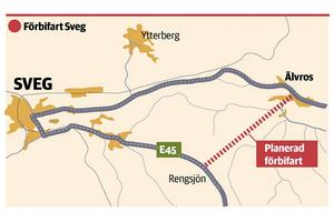 Förbifart Sveg, karta från Trafikverket.