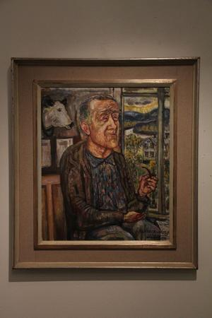 Olle Nordberg var verksam utanför Stockholm. Han målade 1972 detta porträtt i olja av Olanders Nils.