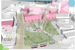 Här är skissen över hur man föreslår att Campusparken ska ändra karaktär. Busstrafiken flyttas från Kvarnbergagatan och Astrabacken som ska bli gångstråk till Forskargatan närmast i bild som får nya hållplatser med busskurar mot väder och vind. I mitten syns den paviljong som kan dölja nerfarten till parkeringsgaraget. Alla rosa hus är nya byggnader (som Kvarteret Sländan med skyskrapan Strykjärnet på andra sidan parken och nya Campusentrén till vänster) medan de gråa husen är befintliga.