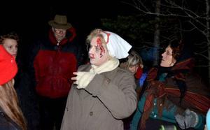 Den blodiga kokerskan Greta Olsson var ett av många läskiga inslag som mötte besökarna under
