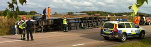 Olyckan inträffade på riksväg 70 söder om Borlänge. Foto: Johnny Fredborg