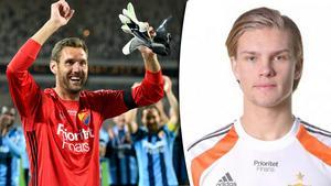 Andreas Isaksson, med 133 landskamper, går av naturliga skäl som etta i Djurgården, framför Oscar Jonsson.
