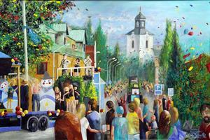 Karnevalståger drar varje år, en augustisöndag, genom centrala Alfta. Erik vill både fånga nuet och stora människosamlingar utan att komma med pekpinnar eller politiska utspel i sina målningar.