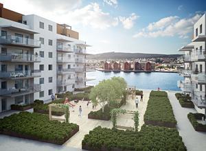 SPG ska bygga två hus med på  fyra våningar  (till höger) respektive fem våningar (till vänster)  och med var sin indragen våning högst upp.