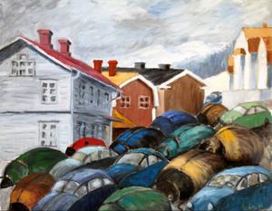 Som en hord av skalbaggar väller bilarna in över Åre torg och ockuperar den lilla byns centrala delar.  Kritiken är färgglad och vass i flera av Ann-Charlotte Hartmans målningar som nu visas på Ahlbergshallen.