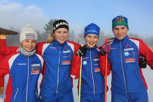 Nova Johasson, Anja Pousette, Thea Hägg och Irja Brandfejll åkandes för Funäsdalens IF.