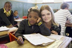 Ida Brindholm kunde inte vara med och summera resan till Sydafrika. Här en bild från en av de skolor ungdomarna praktiserade i.