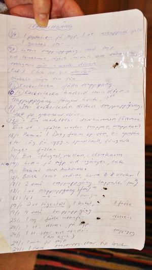Agneta har i sin anteckningsbok skrivit upp alla de gånger hon sett kackerlackor i trappuppgången.