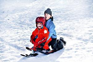 Märta Blom, 4 år och Alfred Blom, 8 år, var på besök från Stockholm och passade på att njuta av det fina vädret och åka pulka i backen.