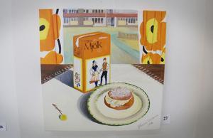 Mjölknostalgi. Minns ni när förpackningarna såg ut så här? Det gör uppenbarligen konstnären, Johanna Lindström.