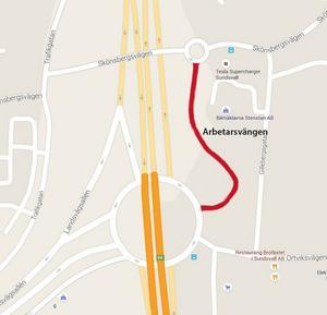 Karta över området. Arbetarsvängen är rödmarkerad på bilden.