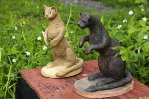 Algot och Vilgot i skulpturgruppen Lystring.