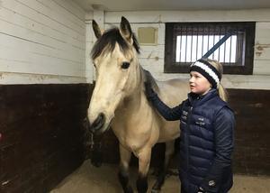 Cajsa Troive Skoglund med sin häst Aines Golden Boy.