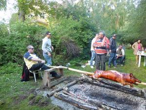 Vi har en kompis som bor utanför Enköping han dotter fyllde år. Då bestmde han att grilla en hel gris som vi brukar göra hemma i filippinerna, har ni sett Robinson så här gör man när man grilla en hel gris det går att göra här i Sverige.