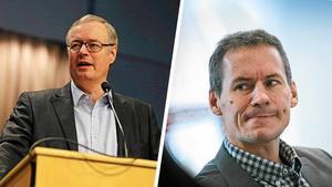 Oppositionsrådet Mikael Rosén (M) och nyligen avgångne kommundirektör Dan Nygren.