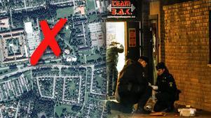 Polisen spärrade av området vid Bjurhovda gym efter skottlossningen.