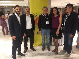 Daniel Riazat träffar fackliga representanter för lärarfacket  Egitim-Sen i Turkiet.