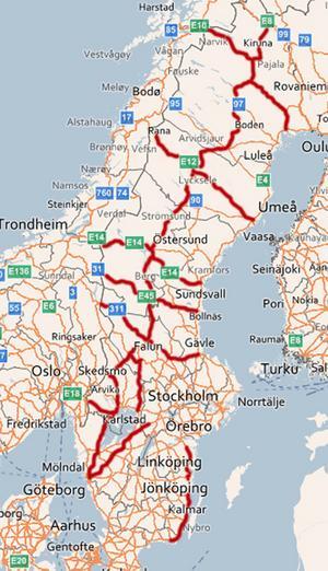 Karta över de farligaste vägarna.