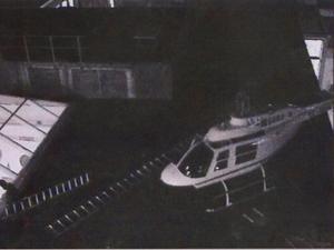 Bild från polisens förundersökning om det så kallade helikopterrånet i Västberga.