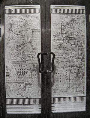 Gävlemotiv.  Glasdörrar av Mattis och Olof Grundell för Gyllene skeppet 1938.