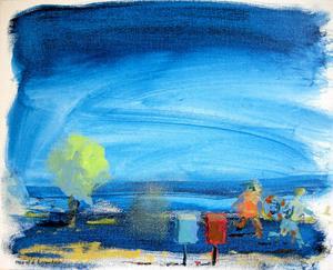 Slarvigt eller glädjefullt? Konstnären Harald Lowden gillar att leka med färger. Här en av hans tavlor som finns med på nya utställningen.