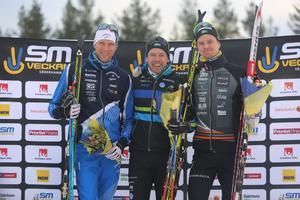 Daniel Rickardsson, Emil Jönsson och Simon Andersson på pallen efter onsdagens distanslopp, 15 km i klassiskstil.