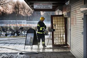 I februari 2016 brann det i den låga centrumbyggnaden i Bäckby centrum.